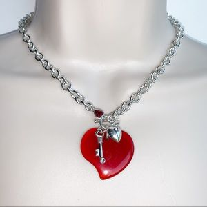 Carolee Classic Chain Necklace Red Heart Pendant